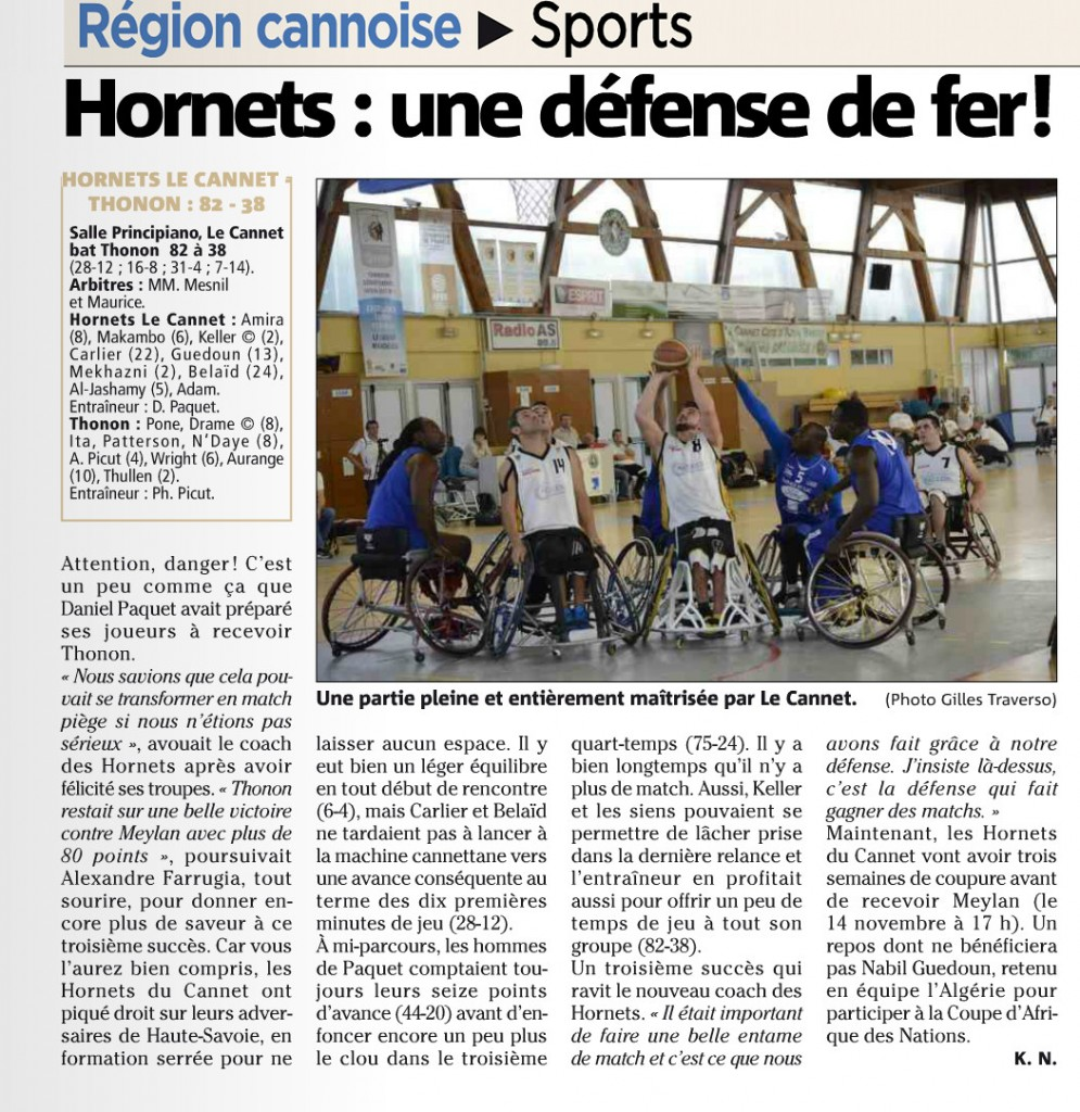 Article nice matin 26-10-2015 thonon